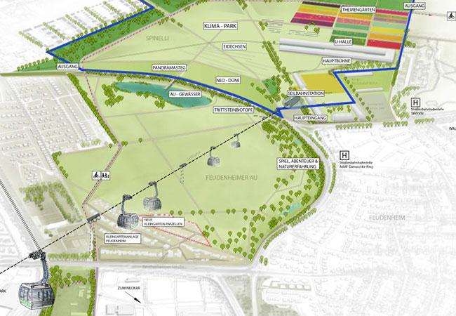 Visualisierung: Übersichtsplan des Geländes zur Bundesgartenschau Mannheim