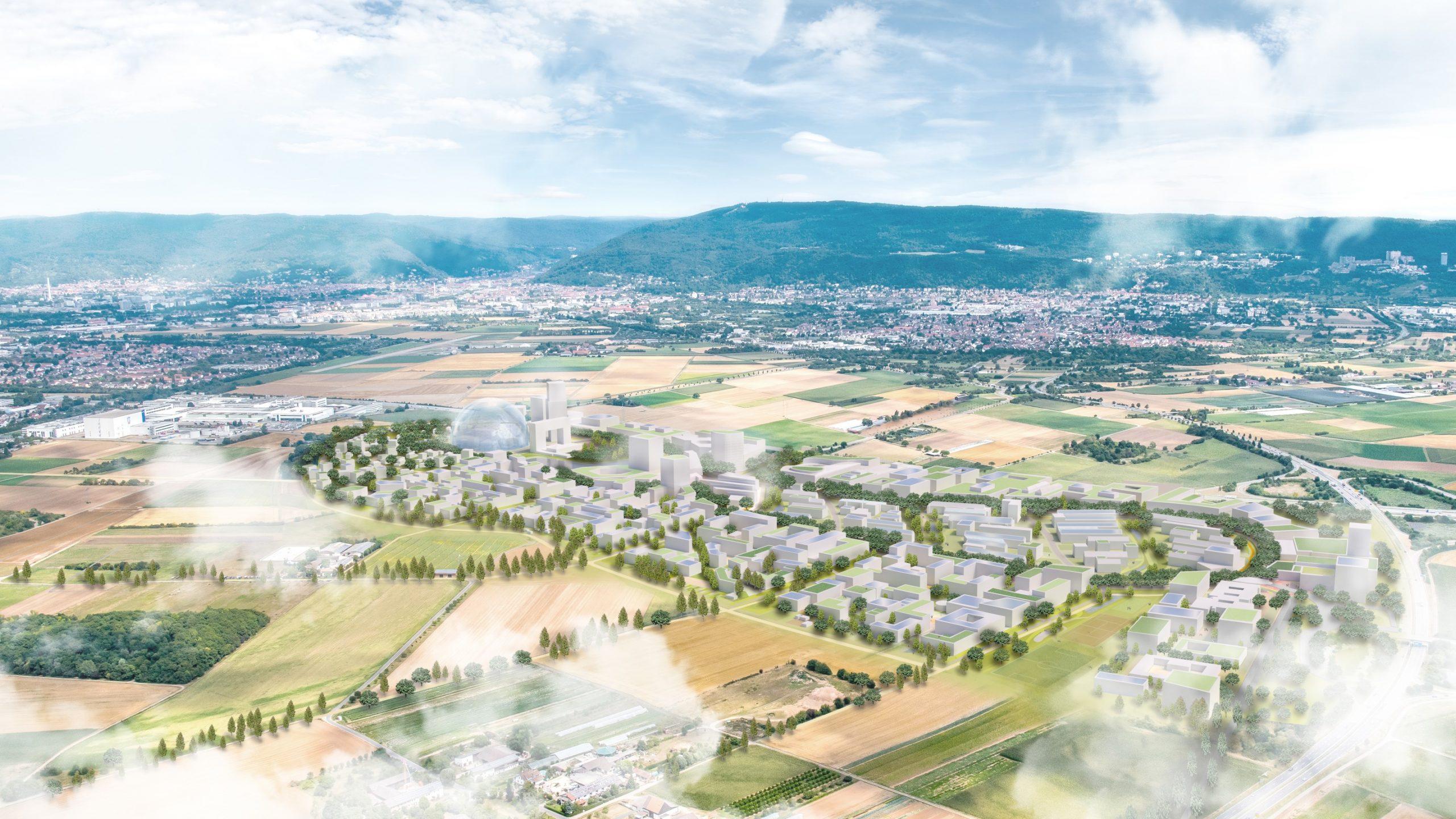 Visualisierung: Luftbild eines neuen Stadtteils