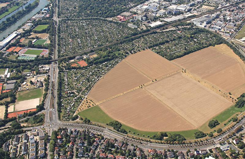 Blick aus der Vogelperspektive auf die Feudenheimer Au und angrenzende Stadtteile.