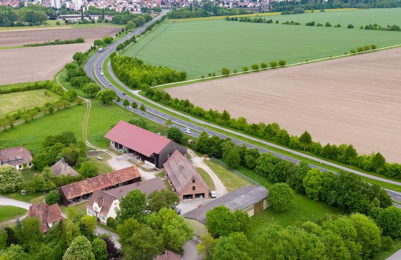 Luftbild des Versuchsguts Kirschgartshausen der Südzucker AG.
