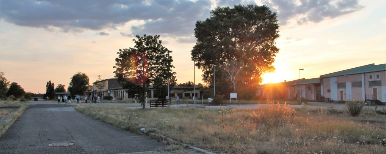 Baustellenführung auf Spinelli bei Sonnenuntergang