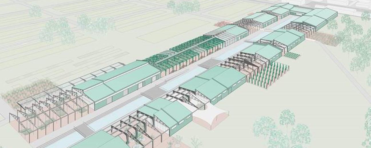 Visualisierung des Entwurfs der U-Halle in Vogelperspektive